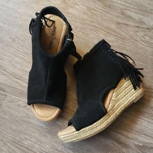 Minnetonka Black Leather Fringe Espadrilles Boho
